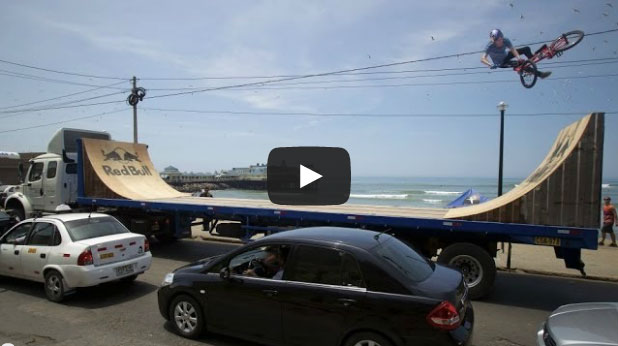 Xtreme: Daniel Dhers Rides a Ramp on a Moving Trailer in Peru